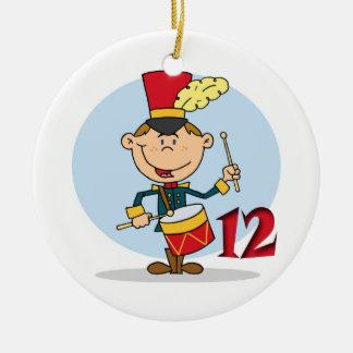 12 Days of Christmas Twelve Drummers Drumming Round Ceramic Decoration