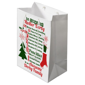 12 Days of Roller Derby Christmas, Roller Skating Medium Gift Bag
