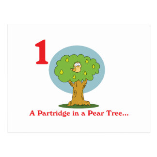 12 days partridge in a pear tree postcard