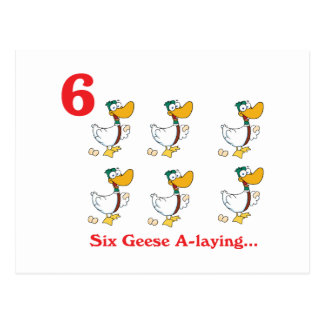12 days six geese a-laying postcard