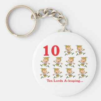 12 days ten lords a-leaping basic round button key ring