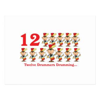 12 days twelve drummers drumming postcard
