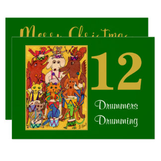 12 Drummers Drumming Cute Animals Personalized Card