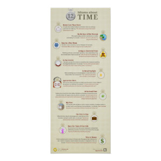 12 idioms about time, better later than never poster