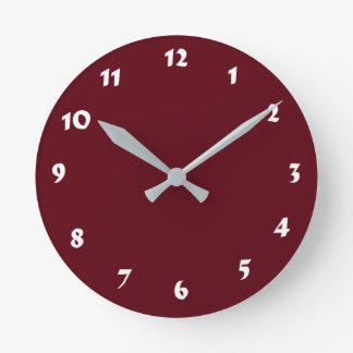 12 Number Choices to Choose From Burgundy Clock