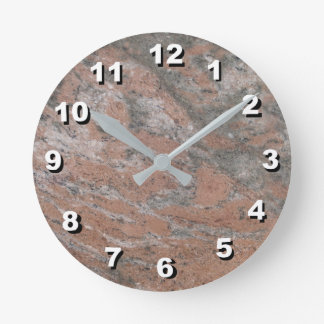 12 Number Choices to Choose- Pnk-Gray Marble Clock