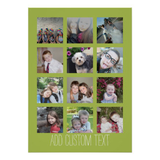 12 Photo Collage with Lime Background 20 x 28 Poster