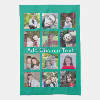 12 Photo Instagram Collage with Green Background Tea Towels