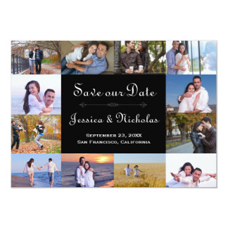 12 Photos Collage Black - 5x7 Save the Date Card