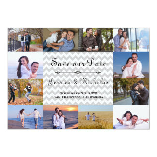 12 Photos Collage Gray Chevron - 5x7 Save the Date Card