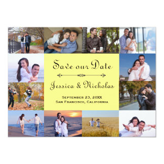 12 Photos Collage Yellow - 6x8 Save the Date Card