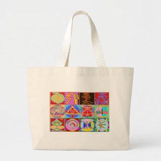 12 Reiki n Karuna Reiki Healing Designs Large Tote Bag