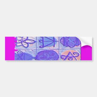 12 Reiki n Karuna Reiki Signs - Pink Border Bumper Sticker
