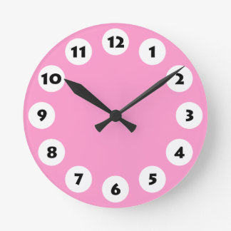 12 Spots - Black with White on Pink Round Wallclock