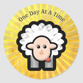 12-Step Lamb in Sunshine - Personalized Classic Round Sticker