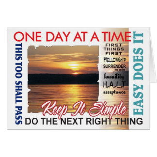 12 step recovery slogans card