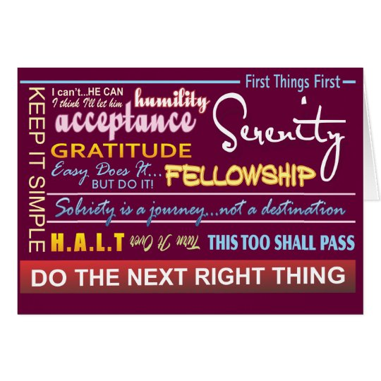 12 step recovery slogans greeting card 17