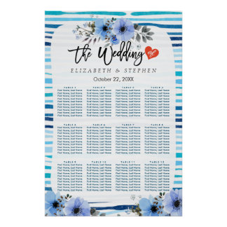 12 Tables Seating Chart Blue Watercolor Floral