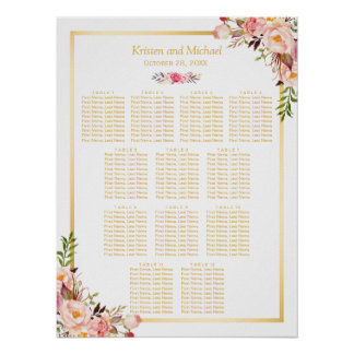 12 Tables Wedding Seating Chart Classy Chic Floral Poster