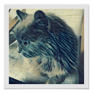 """12"""" x 12"""" Poster - Pretty Kitty - Speckled Blue"""