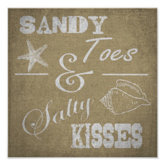 "12"" x 12"" Poster - Sandy Toes & Salty Kisses"