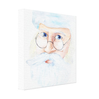 12 x 12 Watercolor Santa Canvas Print