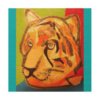 "12"" x 12"" Wood Wall Art with Bright Tiger Wood Prints"