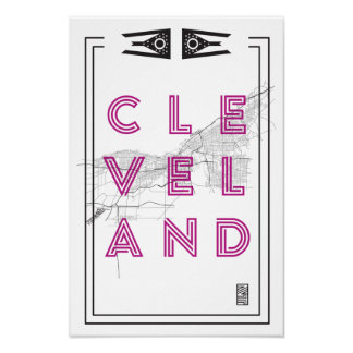 12 X 18 Cleveland Map Poster Black