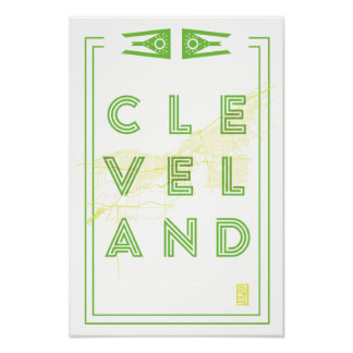 12 X 18 Cleveland Map Poster Green