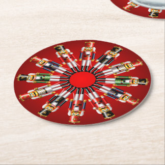 12 Xmas Nutcracker Toy Soldiers Round Paper Coaster