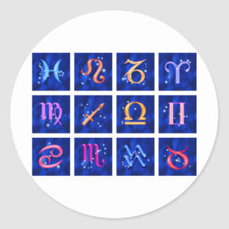 12 Zodiac signs and the constellations Round Sticker
