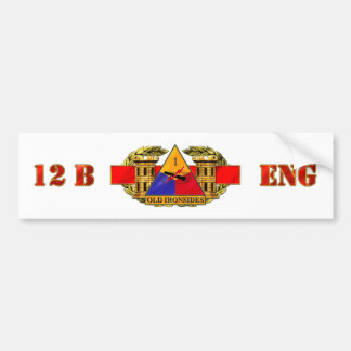 12B 1st Armored Division Car Bumper Sticker