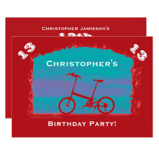 12th, 13th, 14th Birthday Celebration, Red Bicycle 13 Cm X 18 Cm Invitation Card