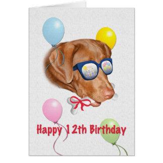 12th Birthday Card with Labrador Retriever Dog