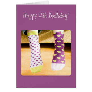 12th Birthday Crazy Socks Card
