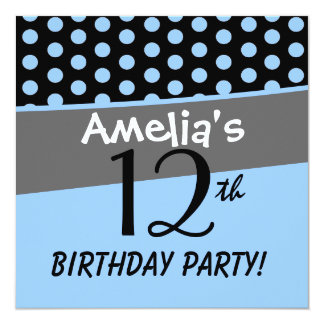 12th Birthday Cute Polka Dots for Girl Card
