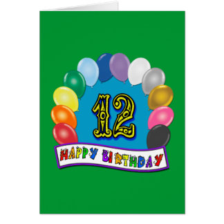 12th Birthday Gifts with Assorted Balloons Design Card
