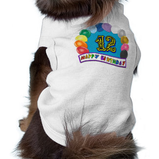 12th Birthday Gifts with Assorted Balloons Design Dog Tee Shirt