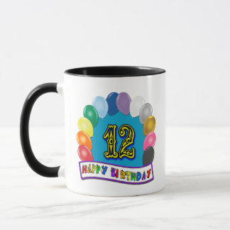 12th Birthday Gifts with Assorted Balloons Design Mug