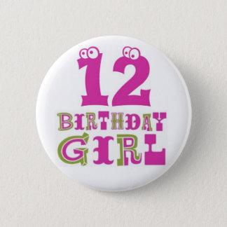 12th Birthday Girl Button Badge