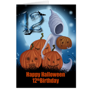 12th Birthday Halloween Ghost And Pumpkins Card