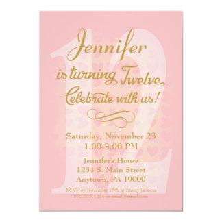 12th Birthday Invitation Girls Pink Gold Hearts