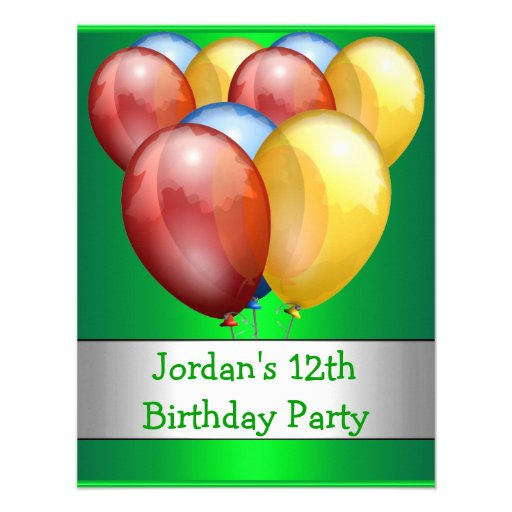12th Birthday Party Balloons Red Lime Green Yellow Invitations