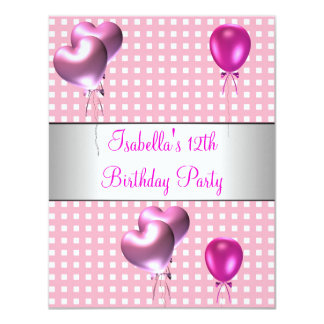 12th Birthday Party Pink Check Silver Balloons Card