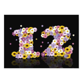 12th Birthday party, with flowered letters Card