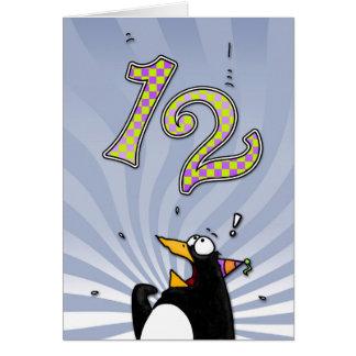 12th Birthday - Penguin Surprise Card