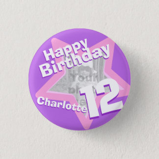 12th Birthday photo fun purple pink button/badge 3 Cm Round Badge