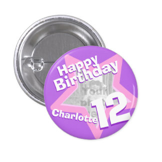 12th Birthday photo fun purple pink button/badge 3 Cm Round Badge