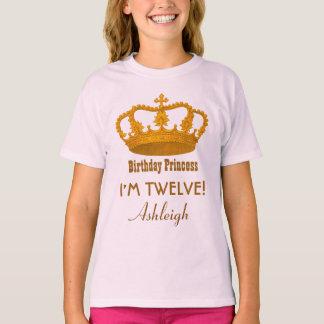 12th Birthday Princess Custom Name Royal Crown A10 T-Shirt