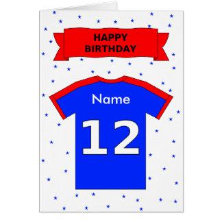 12th birthday red blue t-shirt add a name card